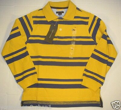 Tommy Hilfiger Boys Long Sleeve Striped Yellow Polo Shirt