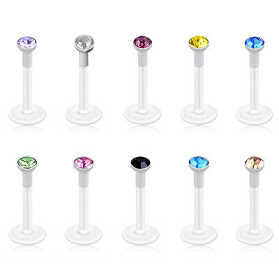 Mixed 10 Color Czech Crystal Gem Labret Monroe Lip Ring Bioflex Bar Piercing 16g