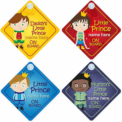Prince on Board Personalised Boy Baby/Child Car Sign - Choice of designs!
