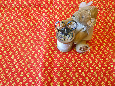 Antique Red Yellow Floral  Calico Cotton Fabric ~ quilts dolls bear projects