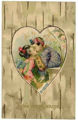 Vintage Valentine's Day Greetings PC, A Young Oriental Couple in a Heart