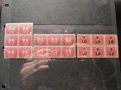 Canadian Revenue Excise Tax MNH blocks of 6 selection of 3 diff, FX34,35,&105