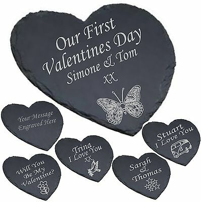 Personalised Engraved Heart Shaped Slate Cheese Board Gift