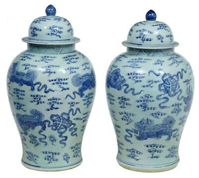 20Th Century Pair Of Chinese Blue And White Jars