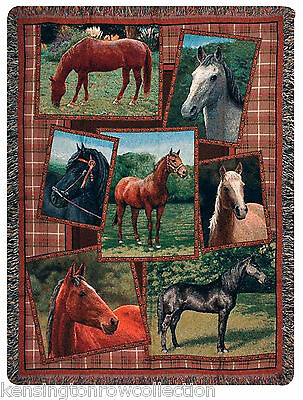 Throws - Stately Steeds Tapestry Throw Blanket - Equestrian - Horse Throw