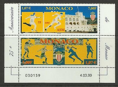 MONACO 1999 75th Anniversary SPORTS ASSOCIATION. FOOTBALL BOXING Pair 2v MNH
