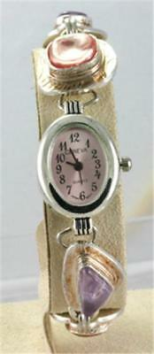 "Ladies (1"") New Unique Artists Stone Bracelet Watch, priced below cost"