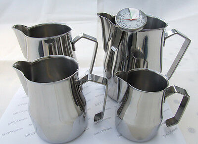 Motta Milk Frothing Jug 25cl 35cl 50cl 75cl 100cl Stainless Steel + Thermometer