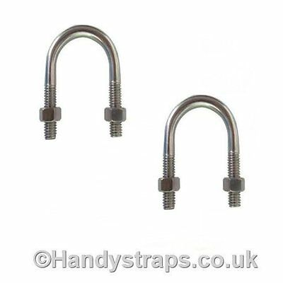 2 x Ubolts Zinc Plated with 2 Hex Nuts 6mm x 60mm u bolts for 34mm pipe