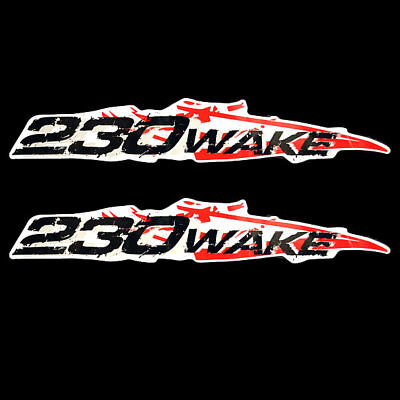 Sea Doo 230 Wake Black / Red / Silver 19 1/2 Inch Vinyl Boat Decals (Pair)