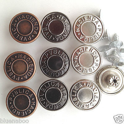 10 x hammer on jeans/denim buttons  silver bronze gunmetal 14mm 17mm 19mm 25mm *