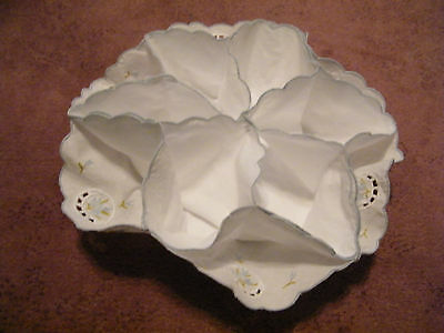 Beautiful Collectible Embroidered Bun Holder White  Lime Blue Embroidery NICE