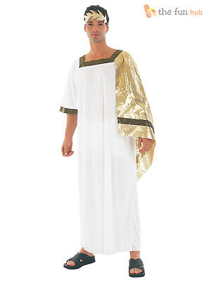 Mens Julius Caesar Costume Roman Toga Greek Adult Fancy Dress Outfit M L XL