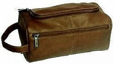 David King Vaquetta Leather Travel / Shave Kit w U-Shaped Opening AD 417 - Cafe