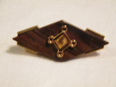 Collectible Gold Tone Scarf Clip Walnut Wood CUTE
