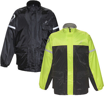 Black Spectre Waterproof Motorcycle Motorbike Rain Wear Over Jacket Bike Cycle