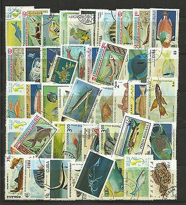 FISH MARINE LIFE Packet Collection 100 Different WORLD Stamps
