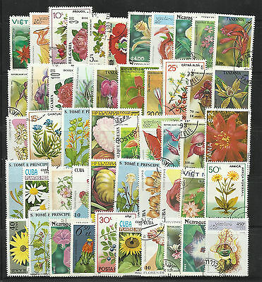 FLOWERS and PLANTS Collection Packet 50 Different WORLD Stamps