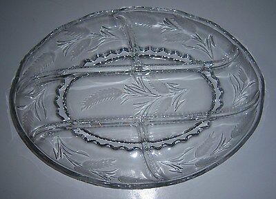 New Martinsville Beautiful Large 5 Part Crystal Relish w Wheat Cutting