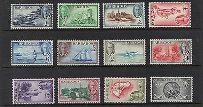 STAMPS  from  BARBADOS  KG VI  1c to $2.40  (MINT HINGED)  lot BC31
