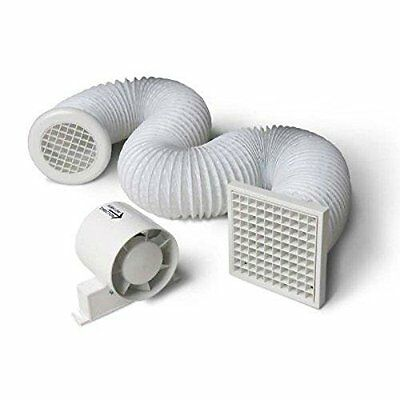 "Inline Shower Extractor Fan with Timer & Full Loft Duct Kit 4""/100mm Bathroom"