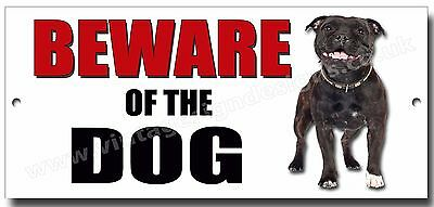 "STAFFORDSHIRE BULL TERRIER ""BEWARE OF THE DOG"" METAL SIGN,SECURITY,WARNING.blk"