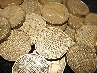 Collection Of 10 Elizabeth Ii Brass Threepence 3-D Coins
