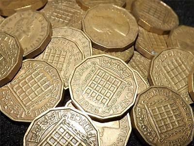 Collection Of 15 Elizabeth Ii Brass Threepence 3-D Coins