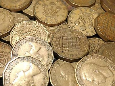 Collection Of 15  Brass Threepence 3-D Coins