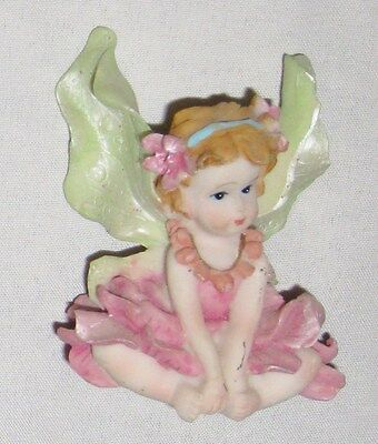 """Pink Dress 2 1/4"""" Fairy Angel Figurine with Green Wings"""