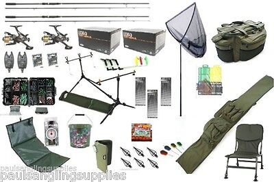 Carp Fishing Set Kit Rods Reels Chair Alarms Bait Tackle Tools Mat Hook Luggage
