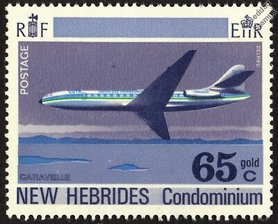 Sud Aviation CARAVELLE Airliner Aircraft Mint Stamp (1972 New Hebrides)