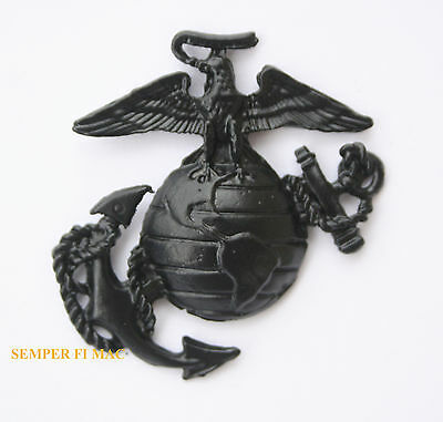 "Ega Xl Made In Us Marine Corps Eagle Globe Anchor Pin Marines Black 1 3/4"" Usmc"