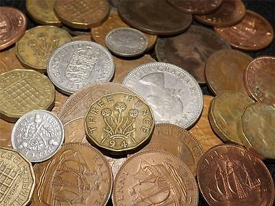 Collection Of 15 Uk Pre Decimal Coins Including Silver Threepence