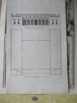 Vintage Print,PLAN,Elevation Out Offices,Wilton,Architecture,18th Century