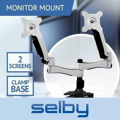"Up to 24"" Dual Arm Tilt Swivel 2 LCD Screen Monitor VESA Mount Desk Clamp Base"