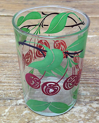 1 Tumbler Hazel Atlas Fruit Juice Clear Glass Cherry Tree Fruit Design Red Green