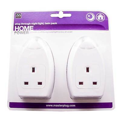 Masterplug Plug Through Energy Saving LED Night Light Dusk to Dawn Twin-Pack