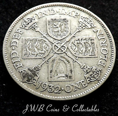 1932 George V .500 Silver Florin Coin Scarce Date