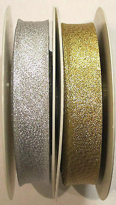 Metallic Lurex Bias Binding Tape Silver or Gold 20mm Wide ~ 25mtrs
