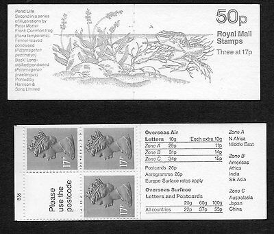 GB 1986 50p folded booklet SGFB33 cylB36 , booklet pane X909L mint stamps