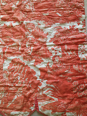Antique French 18th Red Quilted Toile Panel ~  #2