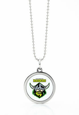Canberra Raiders NRL Round Style Pendant on a Silver Chain Necklace