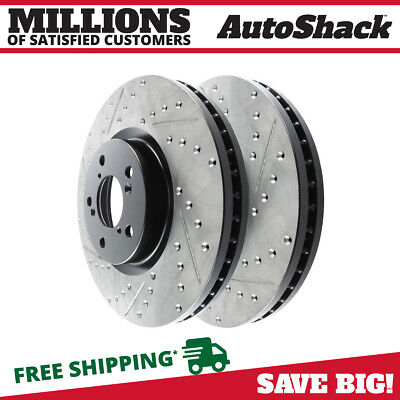 Front Drilled Slotted Brake Rotors Pair For 05-14 17 Volkswagen Jetta 980383 2