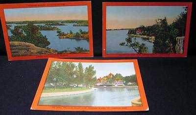 Thousand Islands 3 Vintage Valentine-Black Color Postcards Napoleon's Hat & more