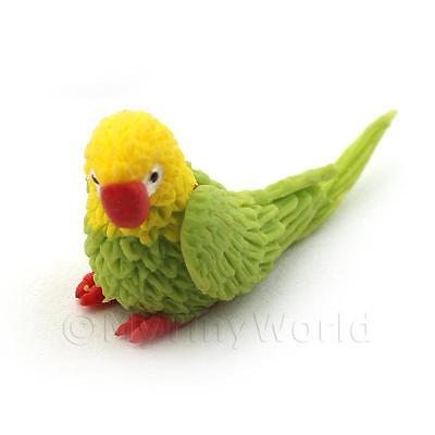 Dolls House Miniature Yellow And Green Baby Parrot