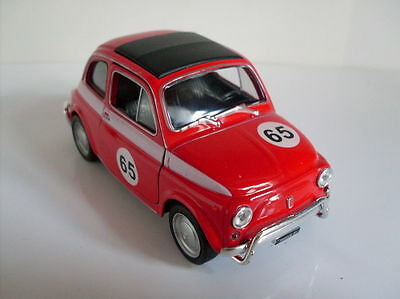 Fiat 500 Race Version rot, Welly Auto Modell ca. 1:35-1:38, Neu, OVP
