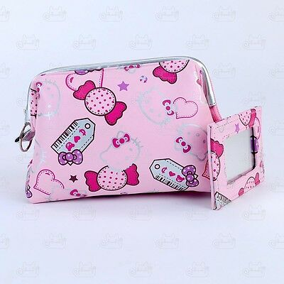 Hello Kitty Cosmetic Makeup Bag Purse with Mirror Pink #361KK86P