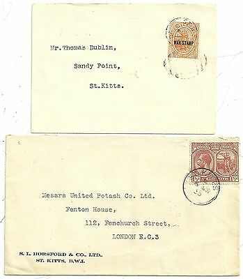 2 St KITTS COVERS 1920 WAR TAX OVER-PRINT & 1935 TO UNITED POTASH IN LONDON