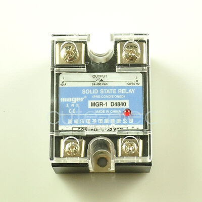 Lot of 5x D4840 SSR Solid State Relay DC-AC 3-32V DC Input ~ 24-480V AC 40A